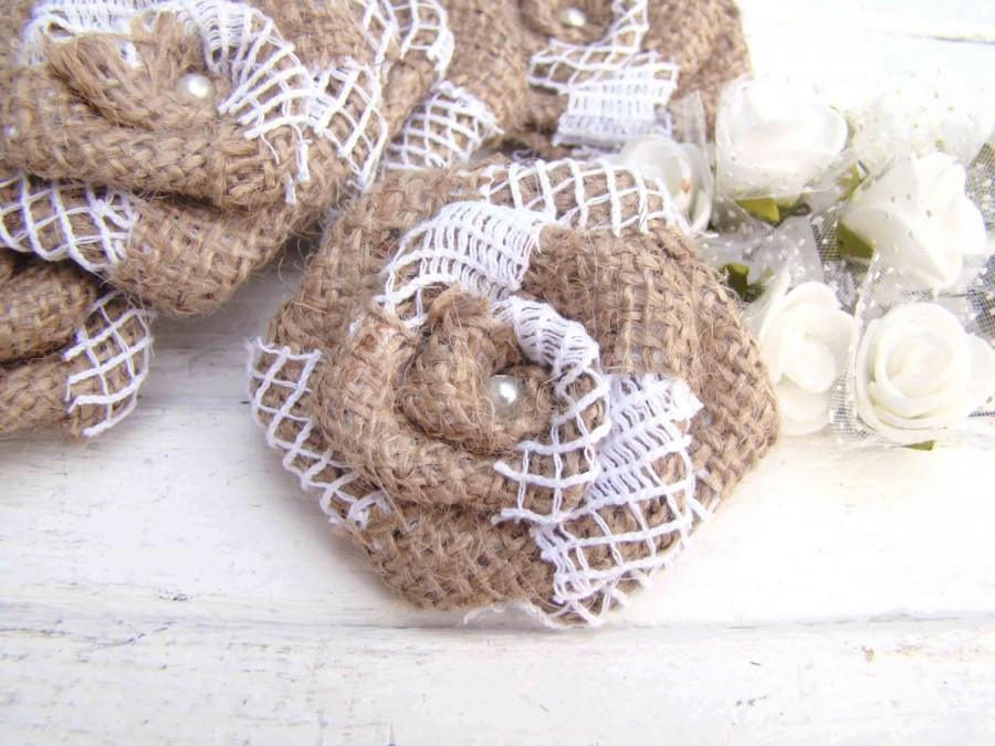 Hochzeit - Rustic Wedding Flowers Set of 12 handmade burlap and lace roses Wedding Decor Flower Ornament Bridal Wedding Party Favor Rustic Chic Bouquet - $12.00 USD