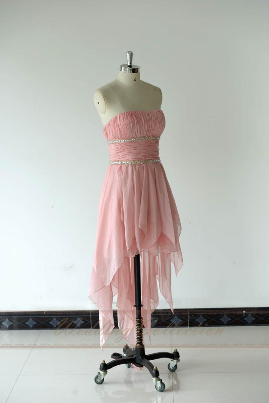 Boda - Pink High Low Prom Dress Evening Gown Crystal Beaded Pleats Chiffon Strapless