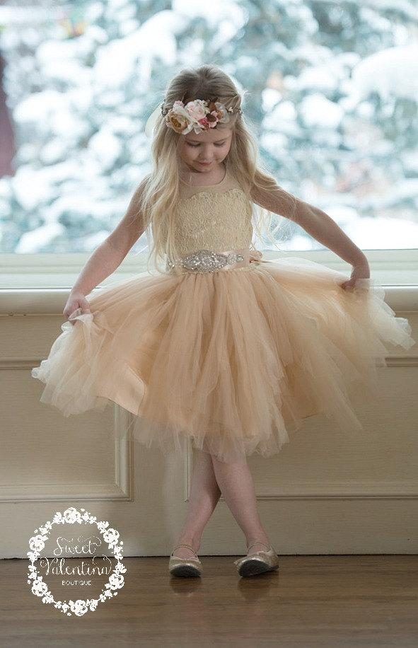 Mariage - Champagne Lace Flower girl dress, White Tulle flower girl dresses,rustic flower girl dress,infant Toddler Girl dresses, flower girl dresses.