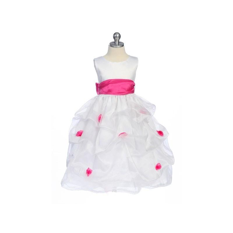 Wedding - Fuchsia Flower Girl Dress - Matte Satin Bodice Gathered Organza Style: D2130 - Charming Wedding Party Dresses