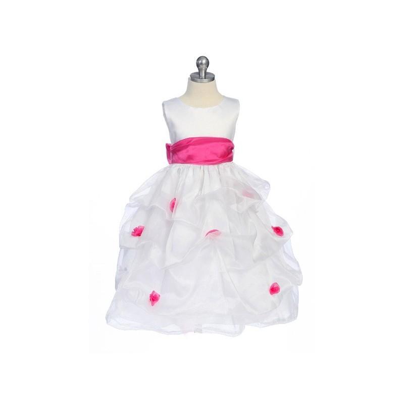Wedding - Fuchsia Flower Girl Dress - Matte Satin Bodice Gathered Organza Style: D2130 - Charming Wedding Party Dresses