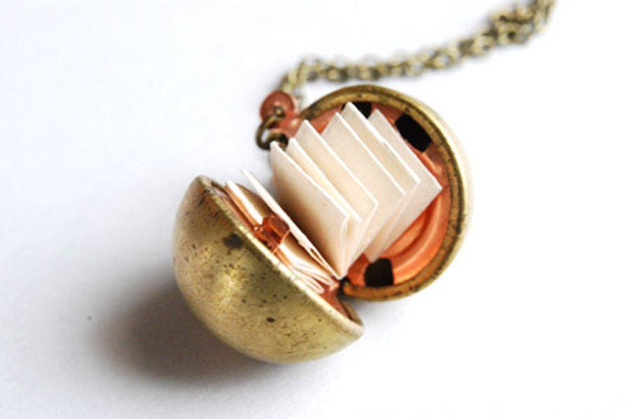 Wedding - Vintage Brass Ball Locket With Paper For Personalized Messages. Various Chain Lengths