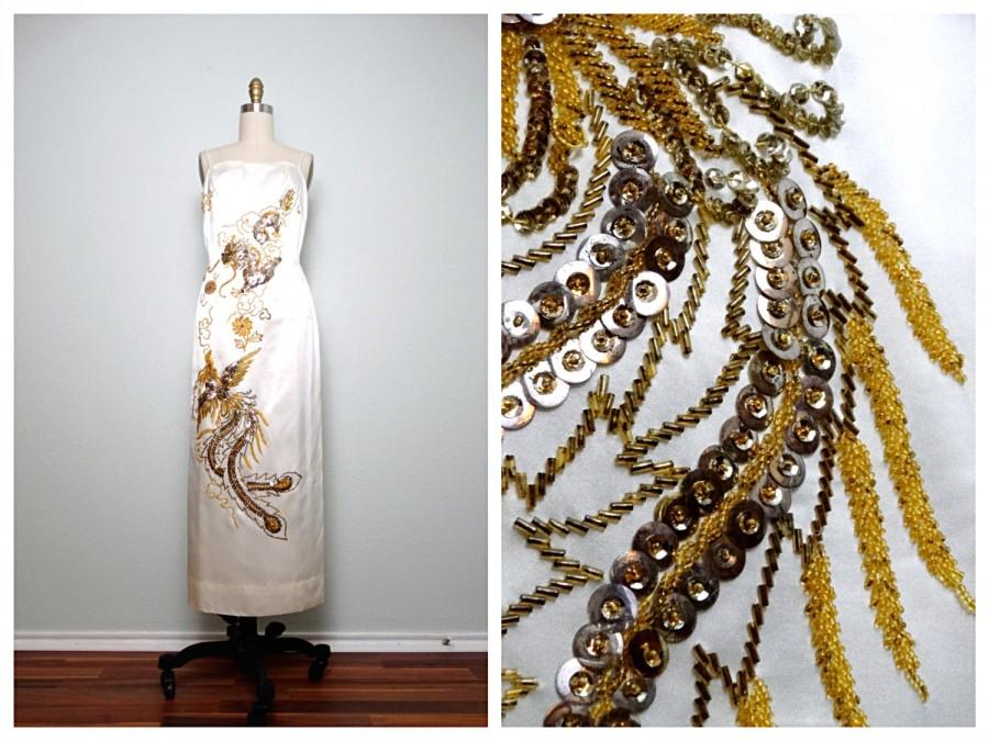 Mariage - Oriental Sequin Wedding Dress / Mandarin Dragon Beaded Dress / Gold Phoenix Sequined Ivory Satin Gown