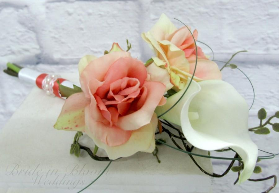 Hochzeit - Jr. Bridesmaid Wedding bouquet coral white real touch calla lily silk rose Flower girl bouquet