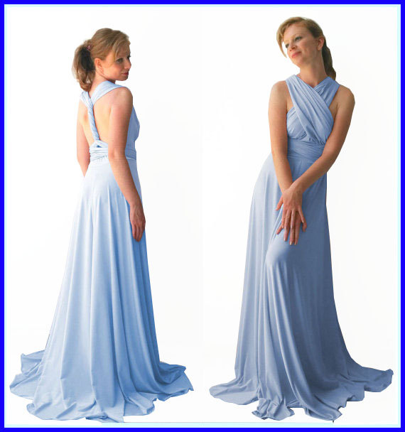 زفاف - Baby Blue Infinity Dress - floor length in baby blue color wrap dress  +55 colors