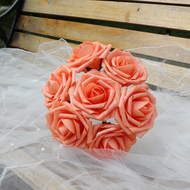 100 Coral Wedding Centerpieces Flowers Artificial Foam Roses