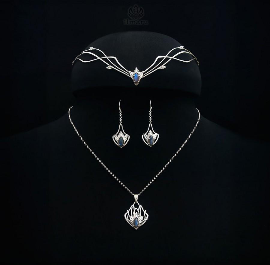 زفاف - Sterling silver elvish Wedding set Argis with labradorites -Made to order- Elven Circlet Pendant Bridal headpiece Medieval Circlet Diadem