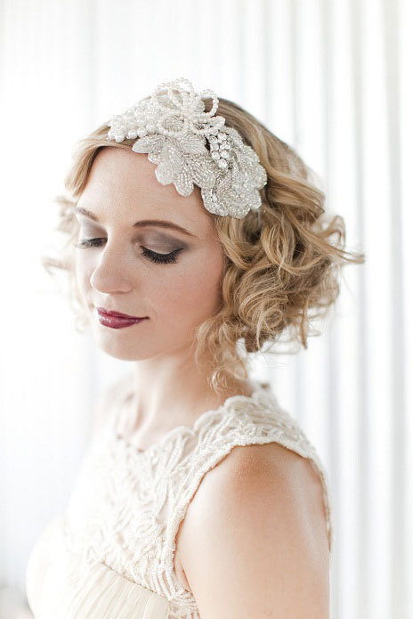 Mariage - vintage inspired crystal pearl embellished beaded pearl flower bridal cocktail headband headpiece hair accessories tiara