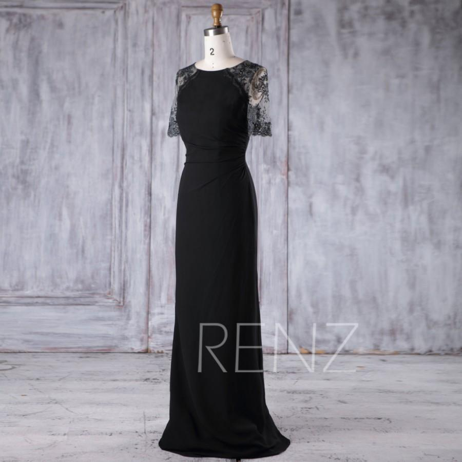 Mariage - 2017 Black Chiffon Bridesmaid Dress Slim, Lace Short Sleeves Wedding Dress, Long Prom Dress, Women Formal Dress Floor Length (H375)
