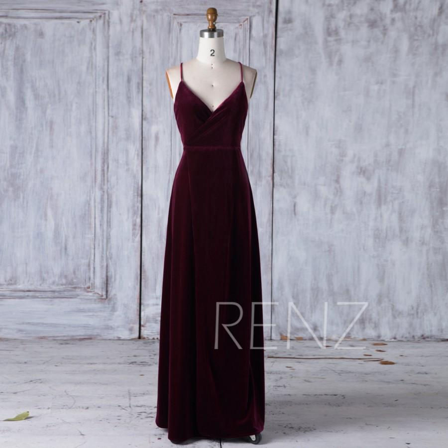 Wedding - 2017 Wine Velvet Bridesmaid Dress, V Neck Wedding Dress, Spaghetti Straps Prom Dress, Mother of Bride Dress, MOB Dress Full Length (HV413)