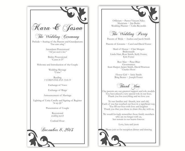 Hochzeit - Wedding Program Template DIY Editable Text Word File Instant Download Black Wedding Program Template Printable Wedding Program 4x9.25inch - $8.00 USD