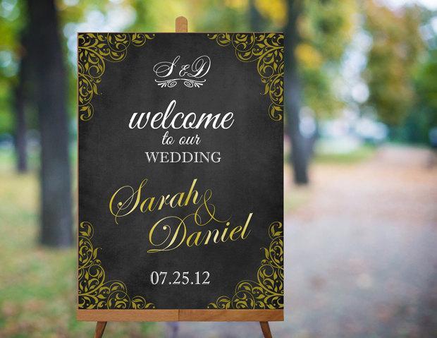 Wedding - Wedding Welcome Sign Printable Wedding Sign Gold Wedding Signs Chalkboard Wedding Signs Custom Wedding Signs Large Digital Wedding Sign PDF - $9.90 USD