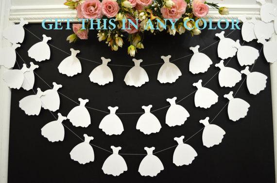 Свадьба - Wedding dress garland, bridal shower decoration, white wedding dress bunting,