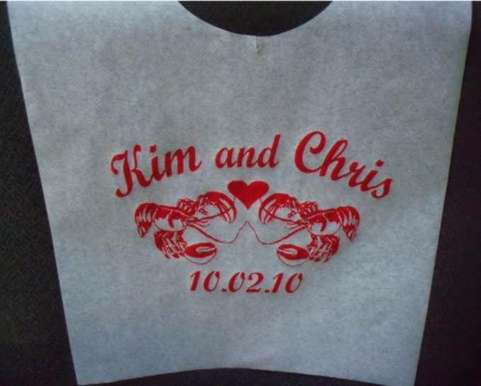 Wedding - Custom printed Adult Party Bibs! 50/pack with one color personalized imprint, Lobster Bibs, BBQ, Grilling Bibs. We're the manufacturer!