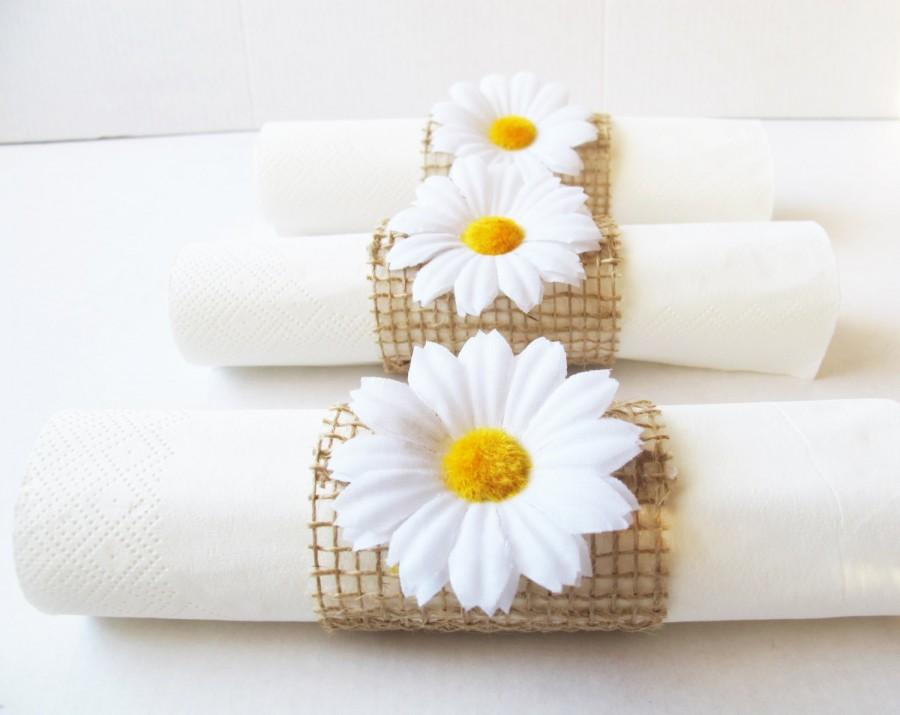 Wedding - 15 Napkin Rings White Daisies Brown Burlap Wedding Party Daisy Napkins Ring Wedding Table Decor Paper Napkin Holders Birthday Party Holiday