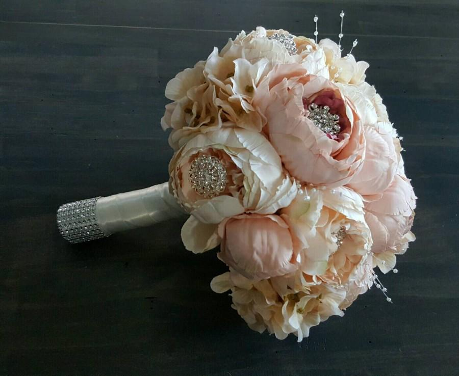 "Свадьба - Blush Pink & Ivory Peony/Hydrangea 10"" Wedding Bridal Bouquet - Made To Order"