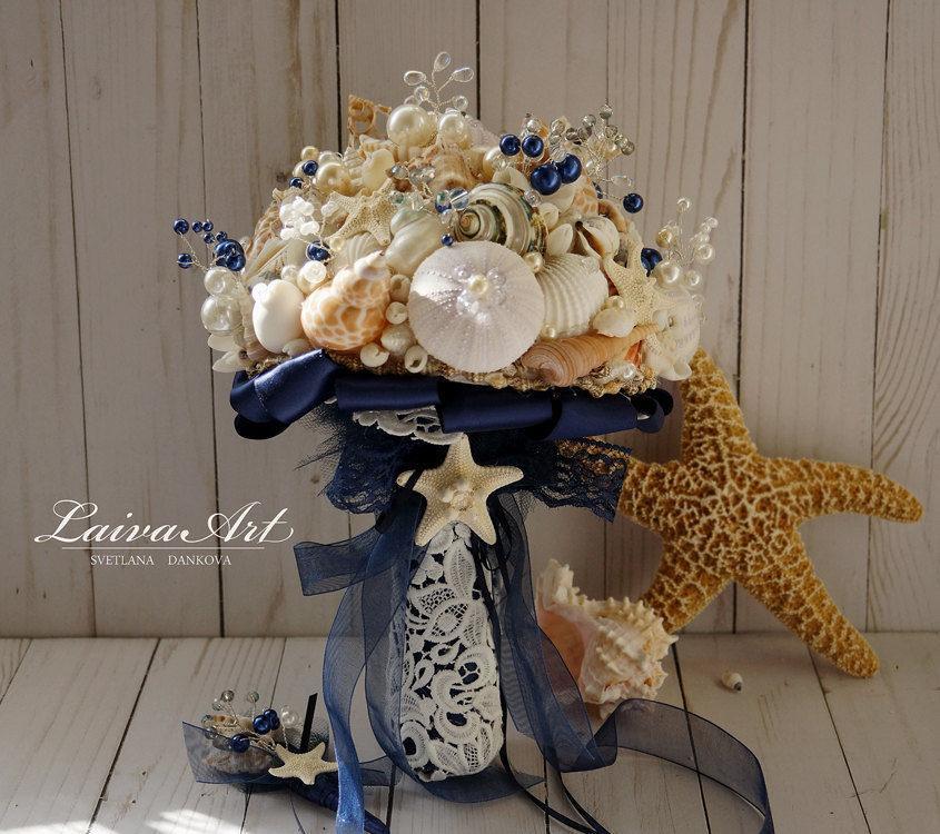 Wedding - Nautica Wedding Beach Shell Bouquet Starfish Bouquet Beach Wedding Bouquet Seashell Wedding Bouquet Boutonniere - $139.00 USD