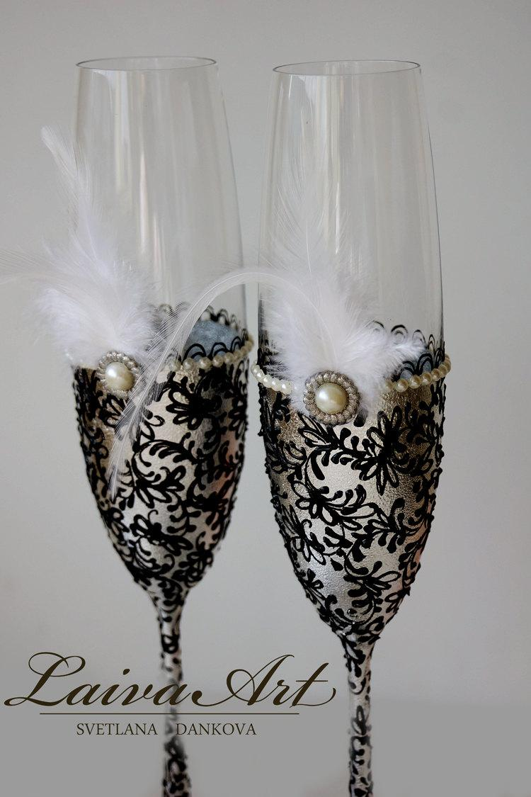 Mariage - Silver Wedding Champagne Flutes Wedding Champagne Glasses Gatsby Style Wedding Toasting Flutes Silver and Black Wedding - $55.00 USD