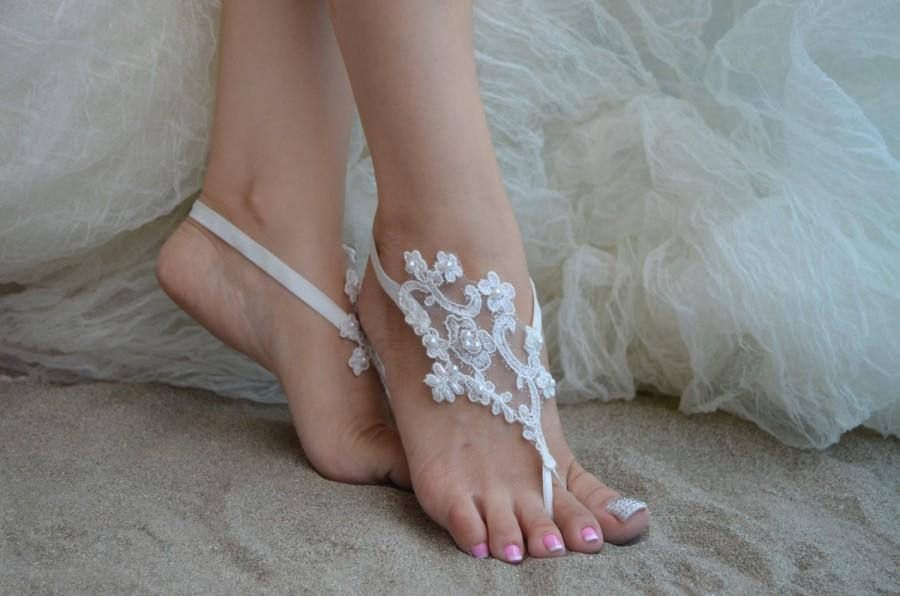 Hochzeit - barefoot sandals, iovry Beach wedding shoes, bangle beach anklets, barefoot sandals, bridal bride bridesmaid, Free ship