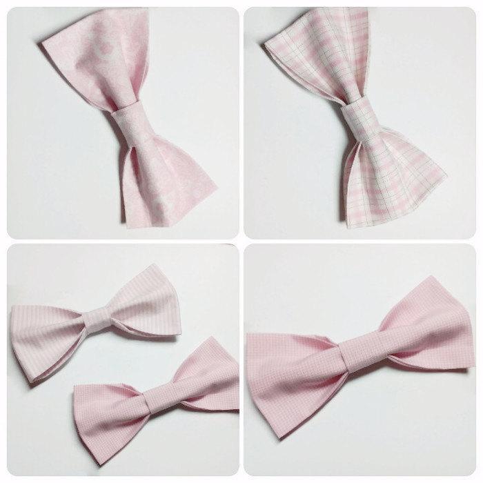 Wedding - blush bow ties wedding bow ties pink bow tie pale pink bow tie floral bow tie checkered bow tie old pink bow tie groom's tie groomsmen hjfrd - $9.05 USD
