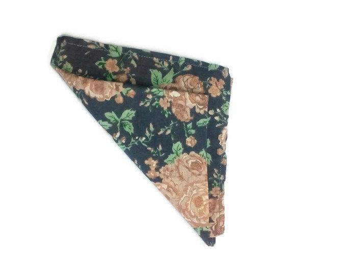 Boda - men's gift vintage roses pattern pocket square wedding handkerchief floral bow tie and pocket square prom handkerchief gifts for groomsmen - $16.16 USD
