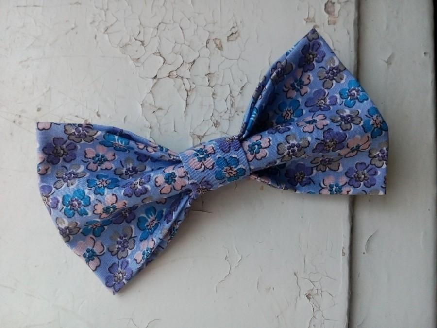 Boda - lavender bow tie floral print pattern men's bowtie wedding floral ties for groom's necktie men's gifts for husband bowtie for boyfriend bjio - $15.00 USD