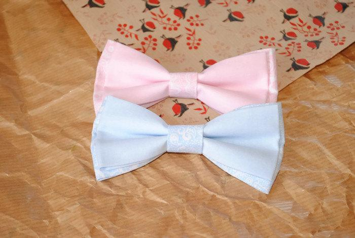 Свадьба - Bow tie for groom blush pink paisley bow tie blue paisley print necktie wedding bow ties pink blue floral bowties groomsmen pocket squares - $9.67 USD