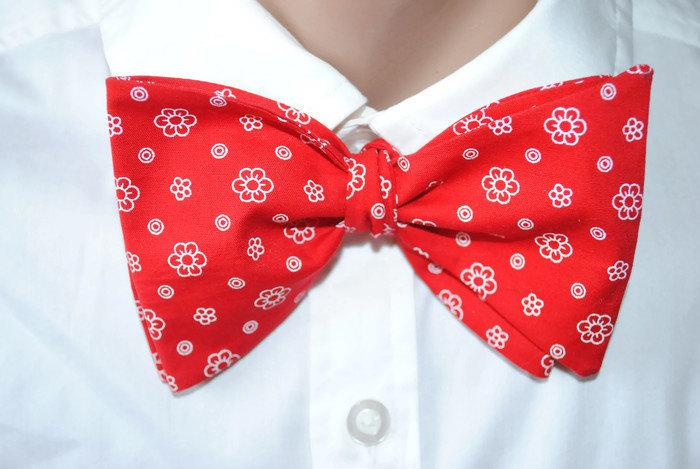 Mariage - Red floral bow tie Men's bowtie Wedding red ties Red self-tie bow tie Gift for bow ties lovers Men's gift Red necktie for groom For him ghjk - $10.00 USD