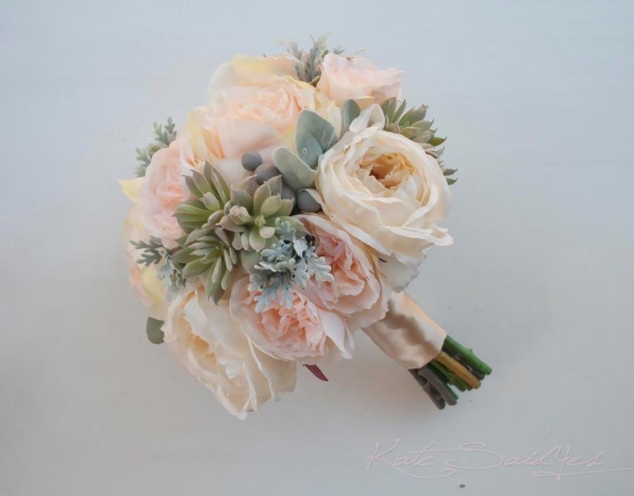 Wedding - Peach Pink and Ivory Peony and Garden Rose Wedding Bouquet with Succulents and Dusty Miller