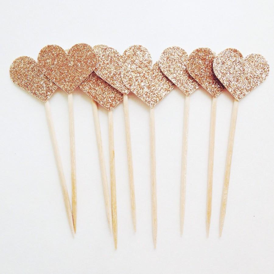 Heart Cupcake Toppers Wedding Cupcakes Rose Gold Love Cupcake