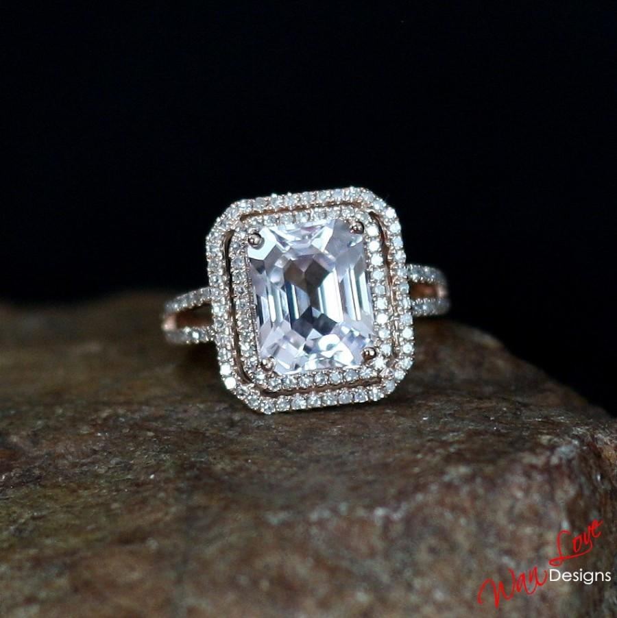 Mariage - Light Pale Pink Sapphire & Diamond 2 Halo Engagement Ring 4ct 10x8mm-Custom-Wedding-Anniversary-14k 18k White Yellow Rose Gold-Platinum 10k