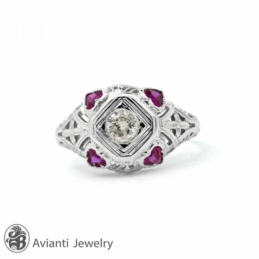 Свадьба - Art Deco Diamond Ring, Vintage Ring, Ring With Diamonds and Rubies, Heart Sahped Rubies, Vintage Enagagement Ring