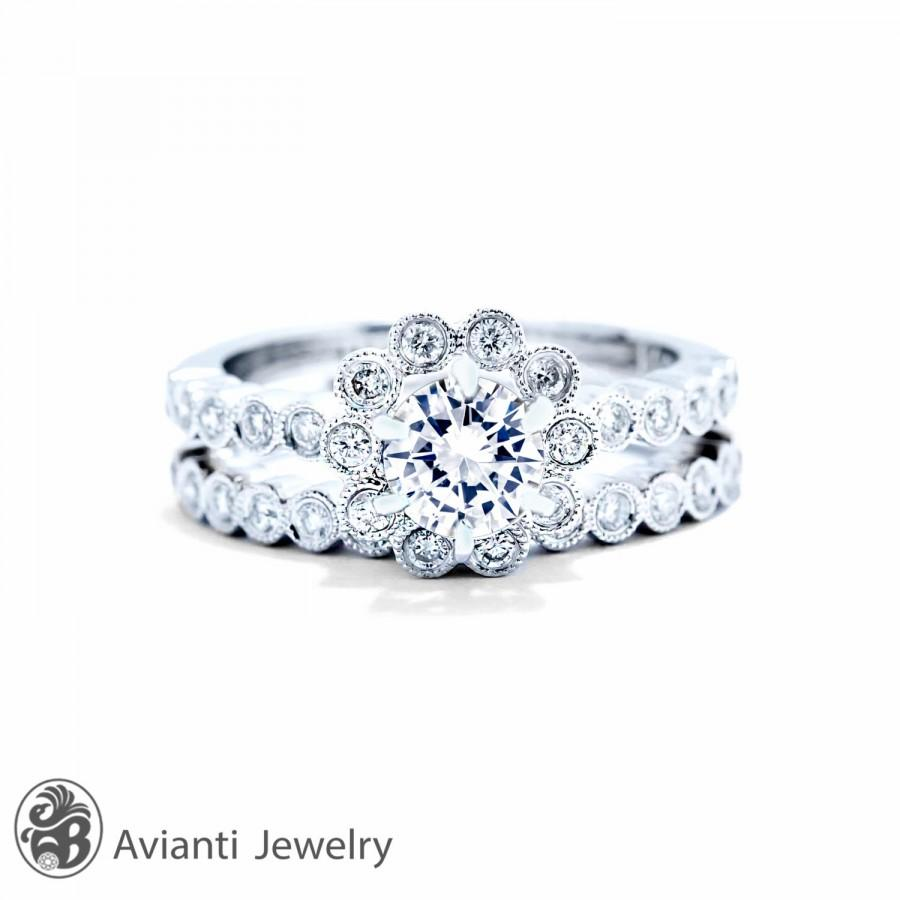 زفاف - Bezel Set Rings, Milligrain Rings, Flower Engagement Set, White Gold and Diamond Wedding Set, Engagement Diamond Rings