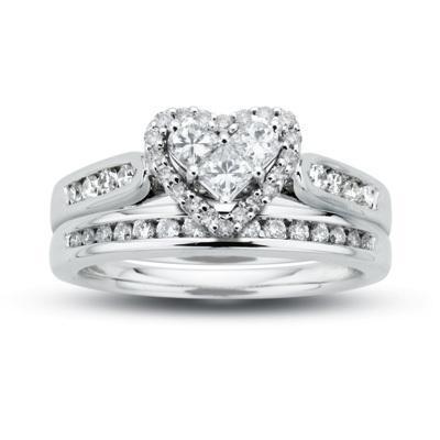 Hochzeit - 3/4 CT. T.W. Diamond Heart Bridal Set in 14K White Gold