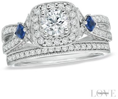 abd5db7100d Vera Wang Love Collection 1-1 4 CT. T.W. Diamond and Sapphire Frame Bridal  Set in 14K White Gold