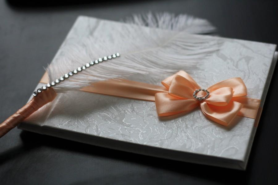 Hochzeit - Peach Wedding Guest Book with Ostrich Feather Pen  Peach Sign in Book with Pen  Wedding wishes Book, Memory Journal, Baby shower book - $49.00 USD