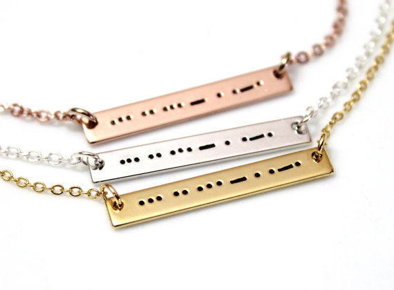 Hochzeit - Aunt Morse Code Necklace, Morse Code Necklace, Morse Code Jewelry, Sterling Silver Bar Necklace, Aunt Necklace, Auntie Gift, Aunt Birthday