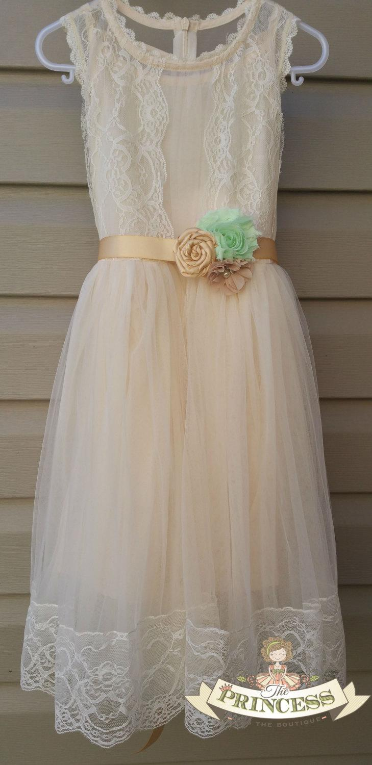 Mariage - Champage flower girl dress, baby dress, vintage flower girl dress, lace dress, cream flower girl dress, champagne flower girl dress