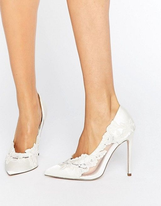 Düğün - Bridal Pointed Lace Heels Wedding Shoes