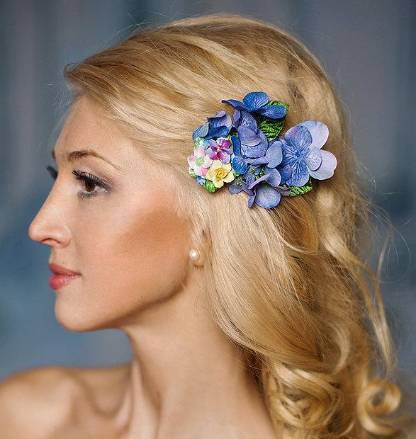 Свадьба - Bridesmaids floral headpiece, Prom headpiece, English garden, hair flower, Blue Hydrangea, Party flower fascinator- Fiona
