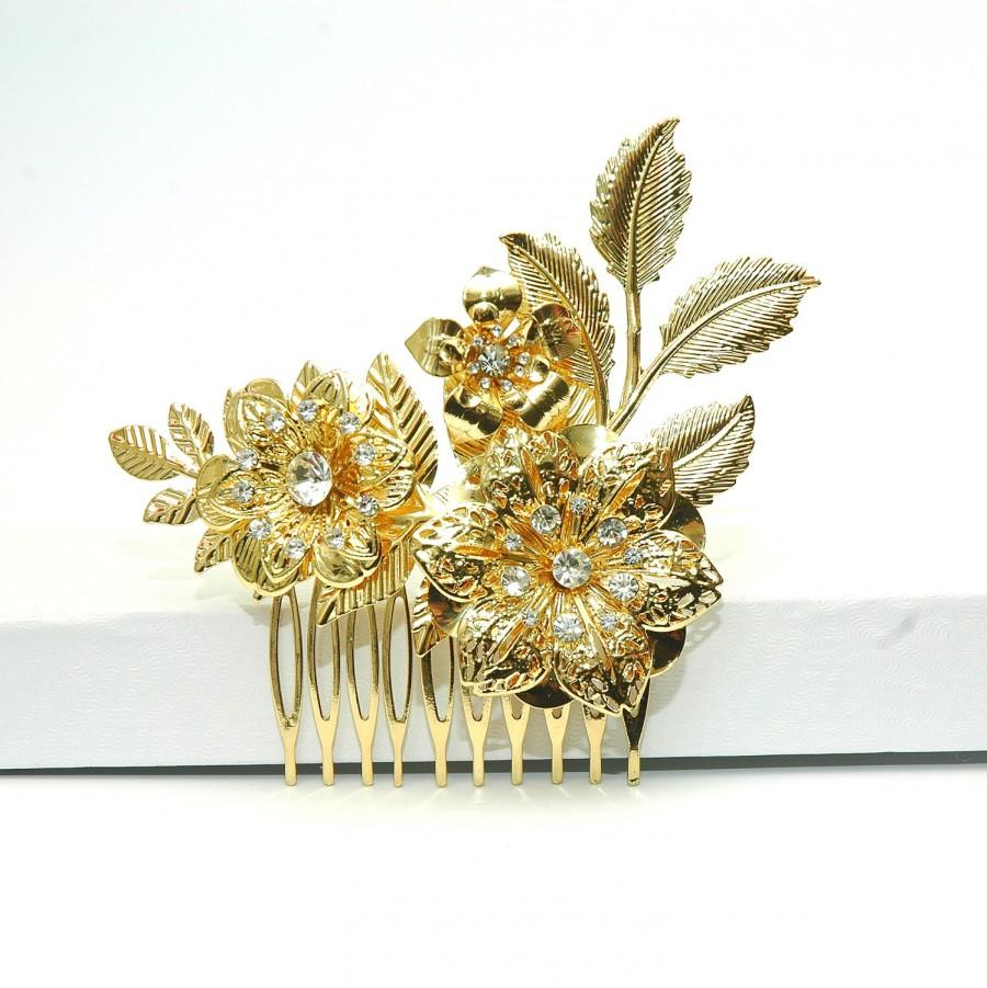 Wedding - Hair Jewelry FREE SHIPPING Gold Hair Comb Bridal Comb Flower Hair Comb, Wedding Silver Floral Headpiece, Crystal Comb, Wedding Hair Accessories, Prom - $29.00 USD