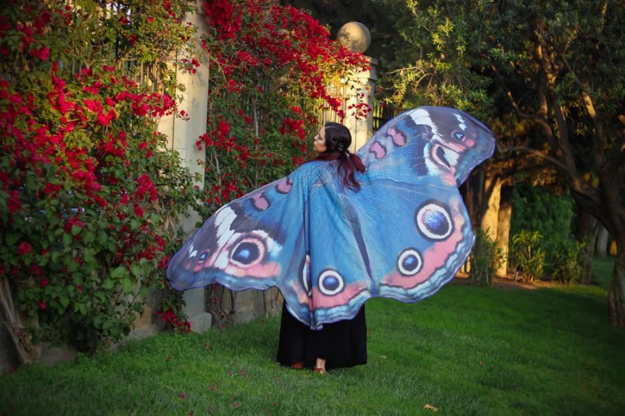 Wedding - Blue butterfly cape wings costume adult Buckeye butterfly belly dance halloween fantasy