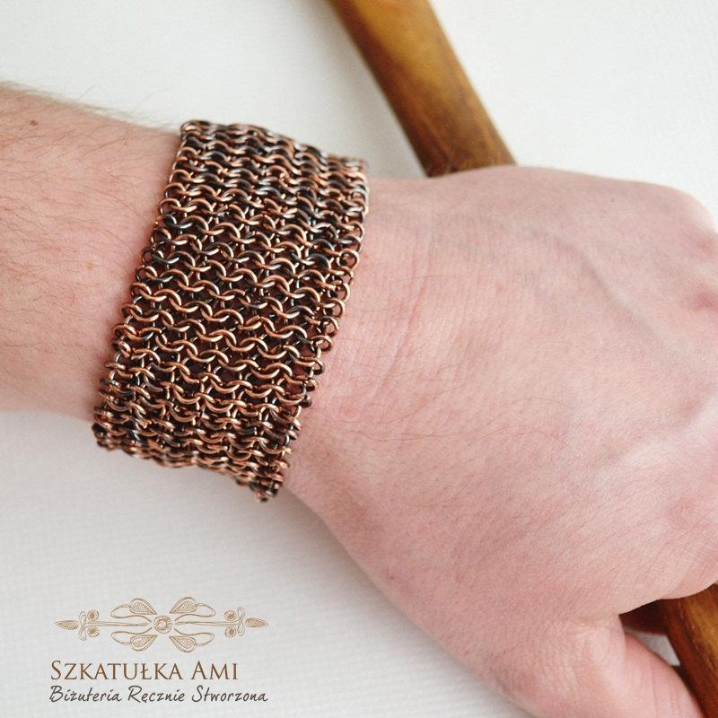Свадьба - Mens Copper Bracelet Copper Chainmail Bracelet medieval jewelry Chainmaille Jewelry Wide Heavy For him cuff mens bangle copper men antiqued