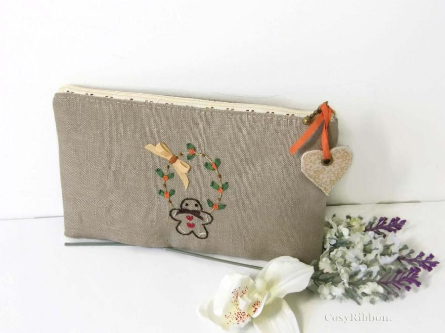 Wedding - Make Up Case , Gingerbread Cosmetic Case, Linen Case , Embroidered Linen Pencil Case, Storage Accessory  , Chic Cottage Zipped Case