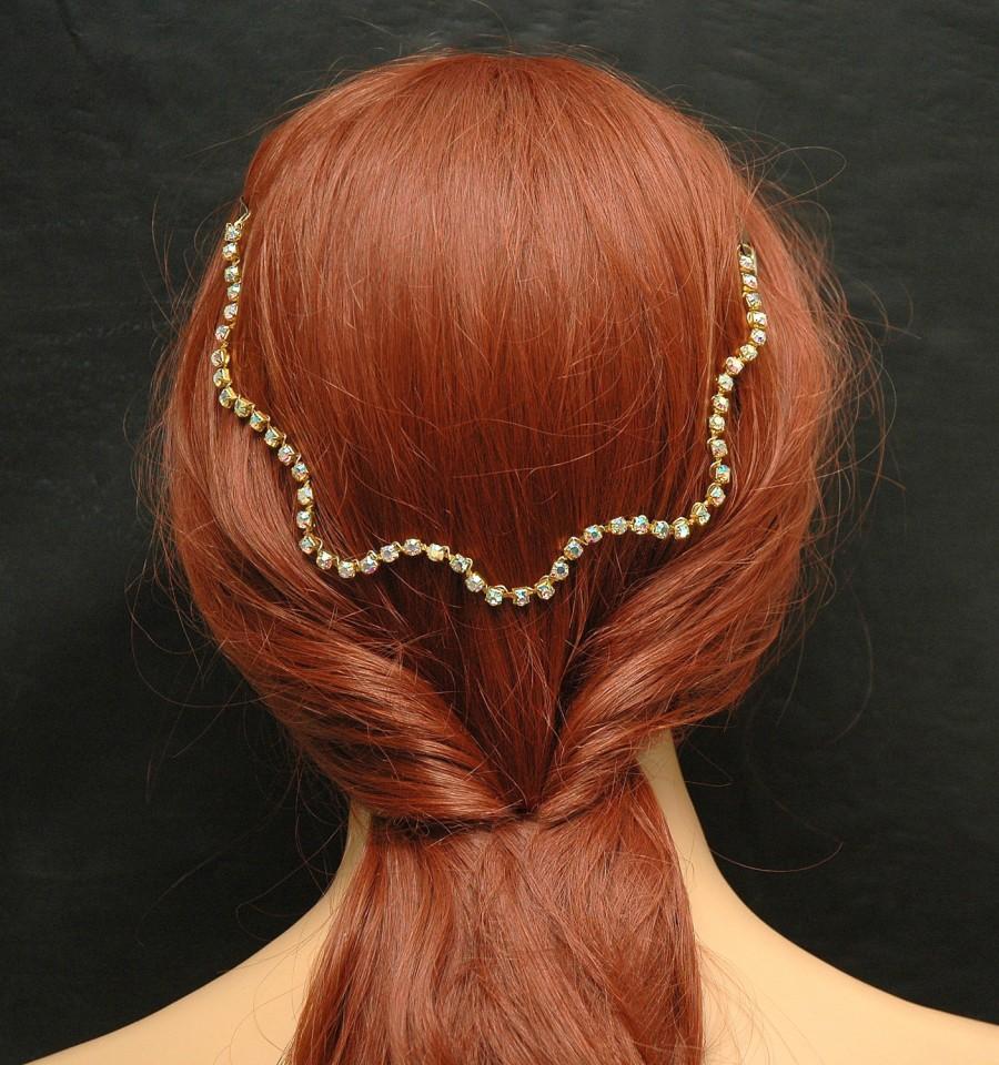 Wedding - AB Rhinestone Headpiece Hair Jewelry FREE SHIPPING Gold Wire Headpiece Bridal Halo Prom Hair Accessories Wedding Headband Bridal Hair Vine Hair Jewelry - $25.00 USD