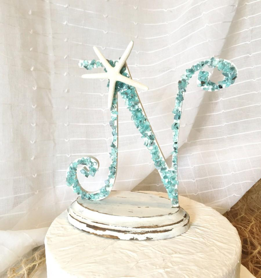 Crushed Glass Monogram Cake Topper Initial Cake Topper Personalized ...
