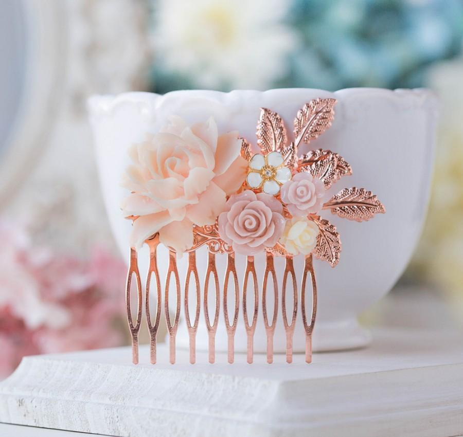 Hochzeit - Blush Wedding Rose Gold Hair Comb Soft Pink Ivory Rose Flower Bridal Hair Comb Rose Gold Leaf Hair Accessory Nudes Natural Tones Hair Piece