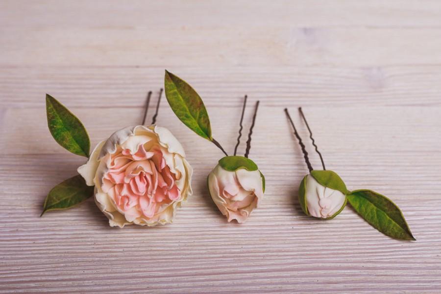 Mariage - Set of 3 Pink Peonies Hairpins Rustic Wedding Hair Accessories Bridal Hairpin Boho Wedding Flower Hairpins Bridal pink peonies bobby Pins