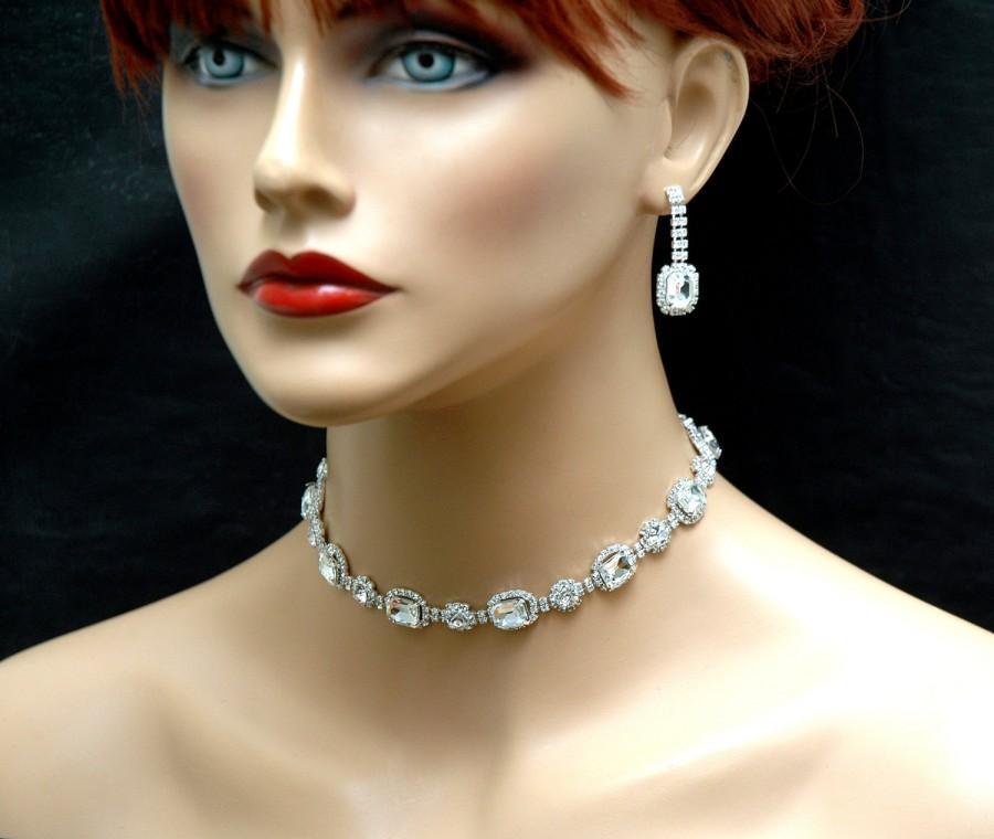 Bridal Jewelry Set Crystal Wedding Necklace Free Shipping Art Deco Bridal Necklace Choker Necklace Silver Prom Necklace Diamond Necklace 27 00 Usd 2676725 Weddbook