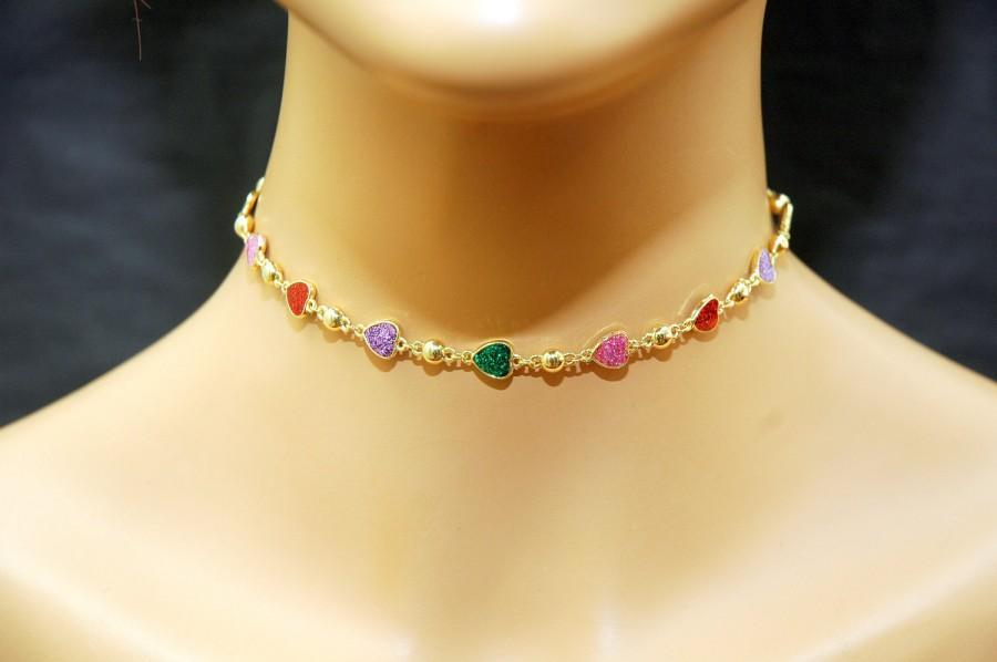 Mariage - Heart Necklace Gold Choker Necklace, FREE SHIPPING Heart Gold Choker, Dainty Necklace, Boho Jewelry, Everyday Jewelry, Prom Jewelry - $24.00 USD